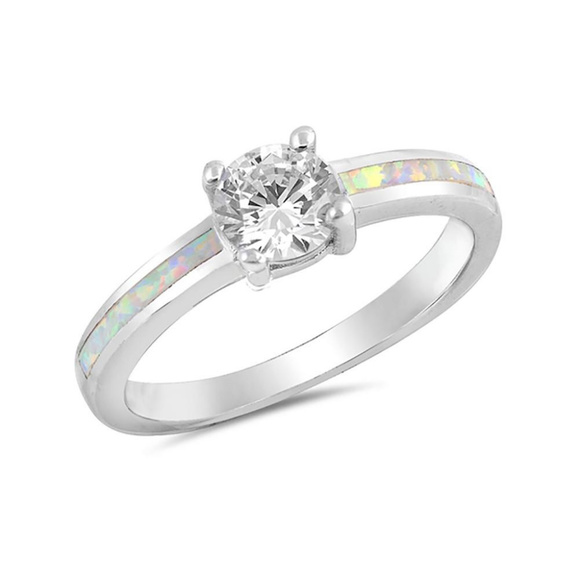 wedding ring lab white opal sterling silver - Blue Wedding Ring